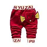 Hirolan Baby Strampler Kinderkleidung Mode Säugling Kleinkind Jungen Karikatur Elefant Drucken Hose Beiläufig Outfits 1T-4T Kinder Kleider (90cm, Rot)