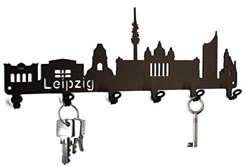 steelprint.de Schlüsselbrett/Hakenleiste * Skyline Leipzig * - Schlüsselboard Sachsen, Schlüsselleiste, Metall - 6 Haken