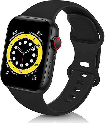 VIKATech Compatible Cinturino per Apple Watch Cinturino 44mm 42mm, Cinturino Morbido di Ricambio in Silicone per iWatch Series 6/5/4/3/2/1, M/L, Nero