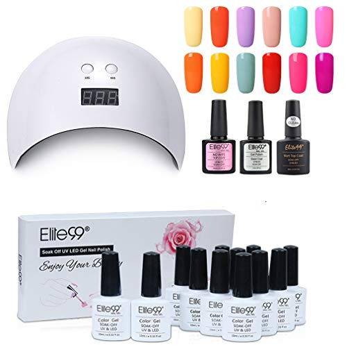 Elite99 Lámpara UV LED para Uñas 24w, 12 Colores Kit de Esmaltes Semipermanentes en Gel UV LED con Base y Top Coat Semipermanentes, Esmaltes de Uñas Soak off 10ml 003
