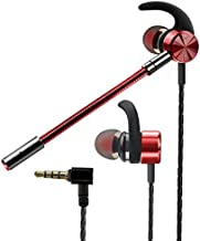 Gaming Earbuds with Mic,Earphones Wired Stereo Bass with Detachable Dual Microphone Noise Cancelling E-Sports HiFi 3.5mm in-Ear Headphones for Mobile Gaming,PS4, Xbox,Nintendo or PC