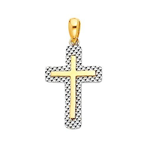 14K Amarillo Oro Blanco Cruz religiosa colgante–altura 19mm Anchura 13mm/AVG. Peso 1,2G