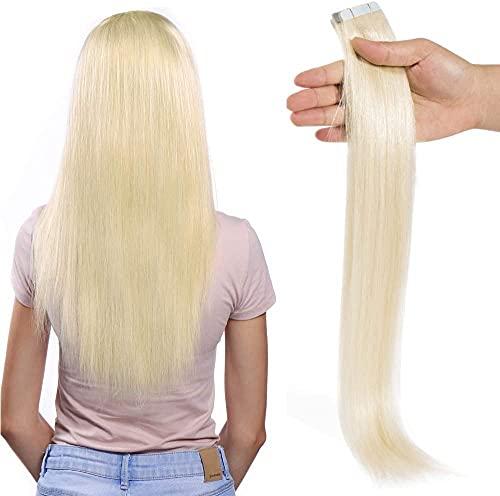 "20 Pcs Extension Adhesive Naturel Rajout Vrai Cheveux Humain Bande Adhesive Lisse (#60 Blond platine, 22""(55cm))"