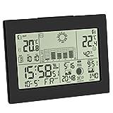 TFA Dostmann Funk-Wetterstation Horizon, 35.1155.01, mit Außensensor, Wettervorhersage, mit Funkuhr, schwarz