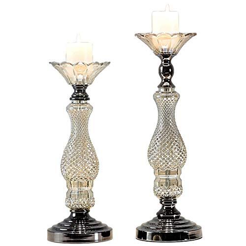 Bougeoirs en Verre, Ensemble De 2 Chandeliers Vintage, Chandeliers De Lumière De Thé, Éclairage Intérieur, Décoration De Noël, Mariage