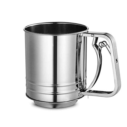 Stainless Steel Hand-held Flour Sifter with Handle, ShineMe Squeeze Metal Fine Mesh Sieve for Baking, 3 Cup Capacity Flour Sieve Cup for Powered Sugar
