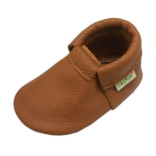SAYOYO Baby Girls Boys Shoes Infant Toddler Soft Sole Moccasinss Crib Shoes 0-6 Months Brown