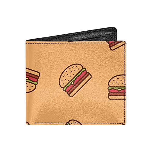 INTERESTPRINT Burger Pattern Fast Food Bifold Wallet PU Leather Wallet Coin Purse for Men and Women