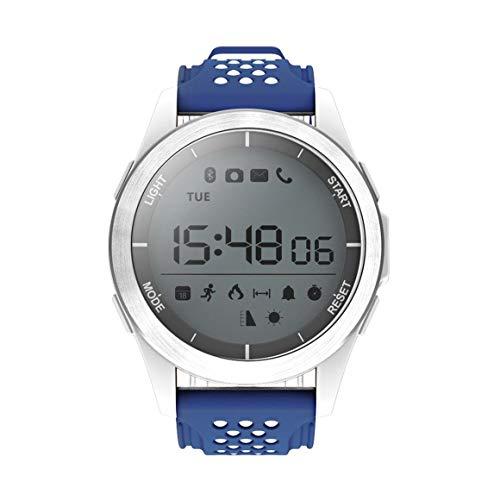 Funnyrunstore NO.1 F3 Deportes SmartWatch dial Giratorio del Reloj Impermeable Reloj podómetro,Azul Blanco
