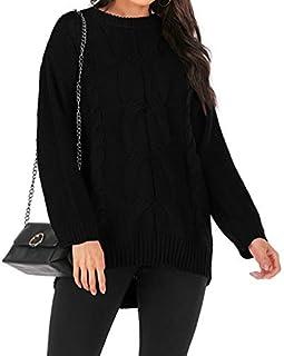 LUZAISHENG Thick Needles Twisted Head Long Sleeve Round Neck Sweater, Size: XL(Black) 2020 Fashion (Color : Black, Size : L)