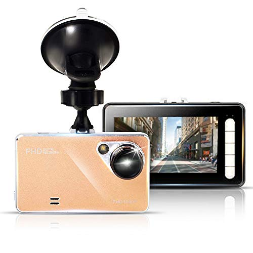 KawKaw UltraSlim Full-HD Dashcam mit großem 3 Zoll LCD-Bildschirm und Nachtsicht-Aufnahme - Stylisches Slim-Design in der Farbe Gold - Akkubetrieb oder Stromversorgung über Autoladegerät