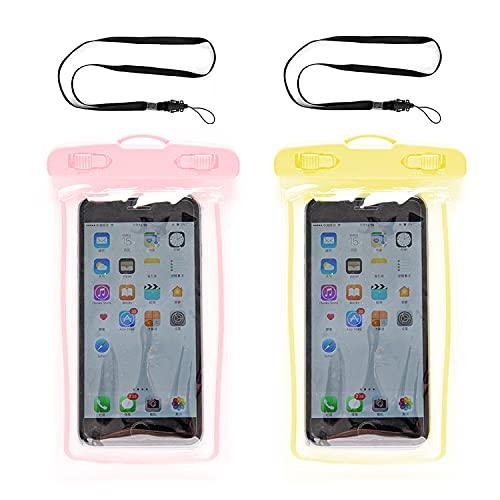 CHUANGOU Paquete de 2 Fundas Impermeables para teléfonos móviles, universalmente adecuadas para Todos los teléfonos móviles de Gran Formato, de Menos de 6,0'.(Amarillo + Rosa)