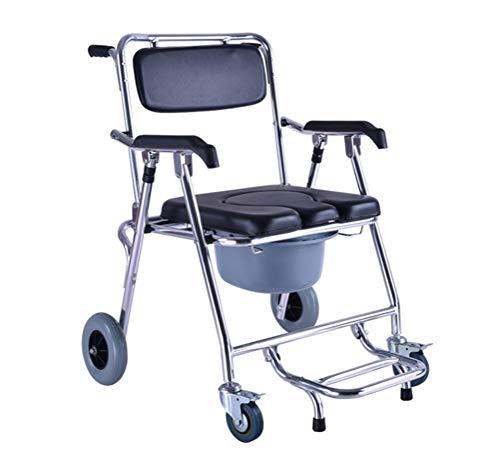 YUQIYU La cómoda del asiento de la silla de ruedas plegable WC/encima con asiento y respaldo acolchado silla de ruedas en movimiento de baño Silla Con Frenos