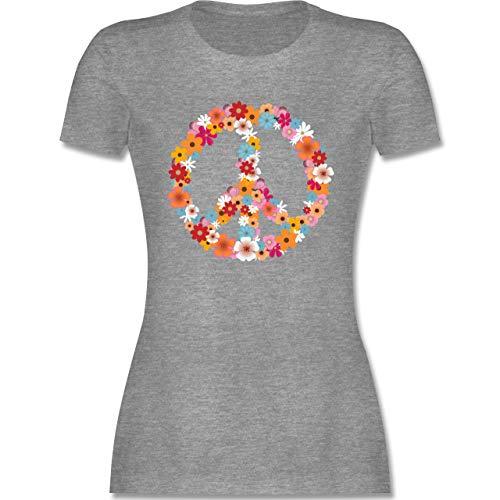 Statement - Peace Flower Power - XL - Grau meliert - Hippie Kleidung - L191 - Tailliertes Tshirt für Damen und Frauen T-Shirt