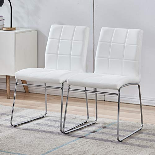 White Dining Chairs Set of 2 - Faux Leather Dining Chairs, Comfortable Modern Kitchen Chairs with Chrome Legs for Dining Room Chairs, Living Room, Bedroom