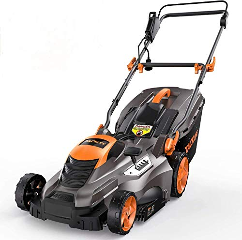 """TACKLIFE Electric Lawn Mower, 16-Inch 13 Amp Lawn Mower, 5 Mowing Heights(0.78"""" -2.76""""), 13.2 Gal Grass Box, 2 Operation Heights, Vertical Storage, Tool-Free Assembly, Quick Folding"""