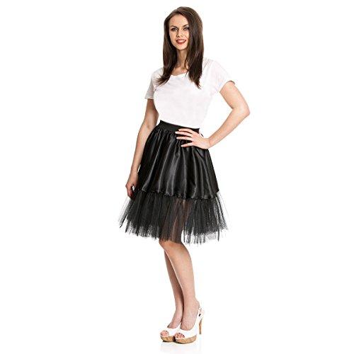 Kostümplanet® Petticoat schwarz mit Gummiband und Tüll Tutu Petti Coat Unterrock schwarzer Petticoat - 3