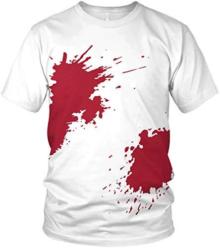 Blutiges Shirt mit Blutspritzer - Outfit Kostüm Verkleidung Halloween Karneval Fasching - lustiges Motto Motiv Spruch Shirt - Herren T-Shirt und Männer Tshirt, Größe:XL, Farbe:Weiß