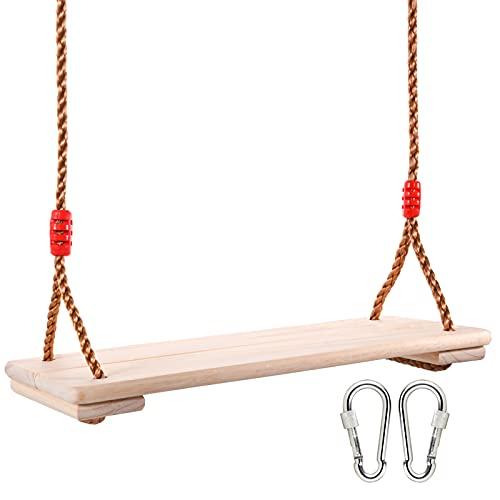 Herefun Schaukel Holz Erwachsene und Kinder, 17,7\'\' x 7,8\'\'Outdoor & Indoor Brettschaukel Gartenschaukel, Hängende Baumschaukel mit Karabiner Edelstahl und Höhenverstellbar Seil ca 150 Kg Standhalten