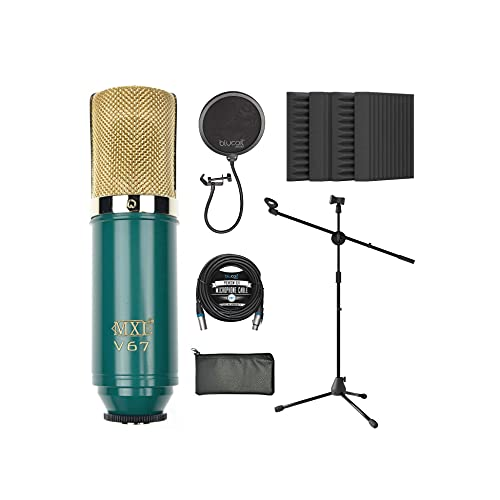 """MXL V67G Large Capsule Condenser Microphone for Vocals and Acoustic Guitars Bundle with Blucoil 20-FT Balanced XLR Cable, Pop Filter, Adjustable Microphone Tripod Stand, and 4x 12"""" Acoustic Wedges"""