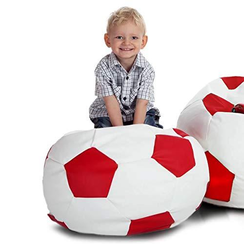 Ecopuf Pouf Pallone da Calcio per Bambino in Ecopelle - Football S Poltrona Sacco Imbottita, 55x35cm