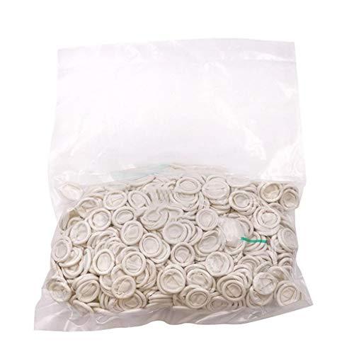 F Fityle Cunas de látex para dedos, sin polvo, para uso General, superficie lisa, blanco, grande (Bolsa de 800 piezas)