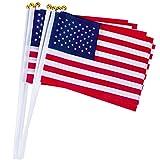 30PcsSmallAmericanFlagsonStick,5x8inchHandHeldMiniAmericanStickFlagswithSpearTopIndoorOutdoorPatrioticDecorations,Independence Day, PartyandParadesDecorations