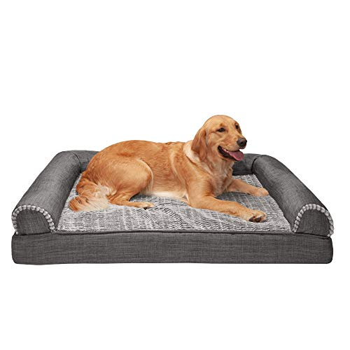 Furhaven Pet Dog Bed - Cooling Gel Memory Foam Plush Luxe Faux Fur and Performance Linen Traditional Sofa-Style Living Room Couch Pet Bed with Removable Cover for Dogs and Cats, Charcoal, Jumbo