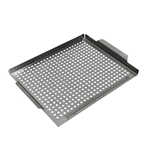 Best Goods Edelstahl Grillkorb Die,Grill Tray, Grill pan, Stainless Steel, Approx. 39 x 29 cm