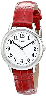 Timex Women's TW2P68700 Easy Reader Red Croco Pattern Leather Strap Watch by Timex