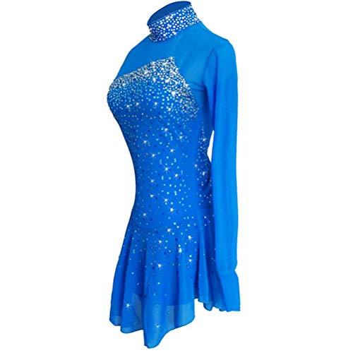 YunNR Vestido de Competición Profesional de Patinaje Artístico Clásico para Mujeres Niña Traje de Rendimiento Baile de Patinaje Brillante Maillot de Gimnasia Elástica con Cristal/Strass Azul
