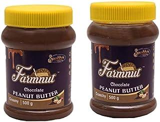 FARMNUT CHOCOLATE Creamy & CHOCOLATE Crunchy PEANUT BUTTER -500 gm, Made with Roasted Peanuts, Chocolate Flavor, Zero Chol...