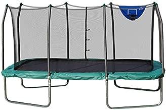 Skywalker Trampolines 14-Foot Rectangle Trampoline with Enclosure Net & Basketball Hoop- Green