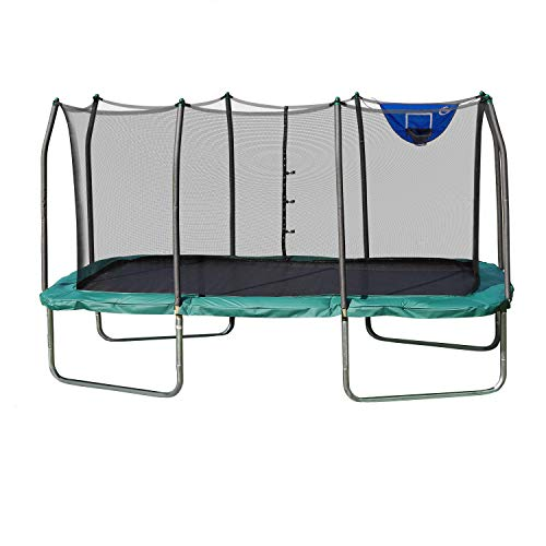 Skywalker Trampolines 14-Foot Rectangle Trampoline with Enclosure Net & Basketball Hoop- Green