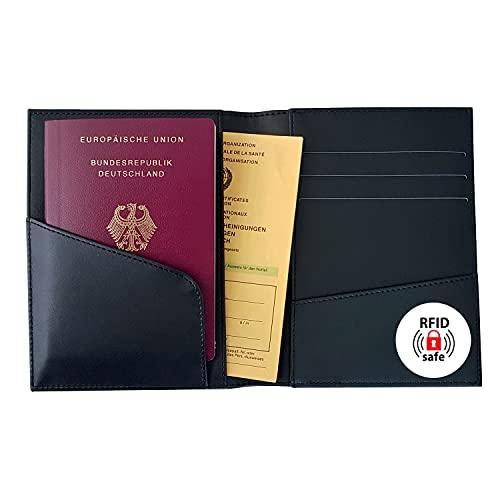 SIGEL CO903 Impfpass Hülle Reiseorganizer, 7 Fächer, RFID & NFC Schutz, schwarz, Conceptum