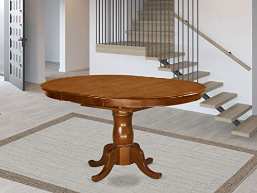 POT-SBR-TP Oval Dining Table with 18' extension butterfly leaf in Saddle Brown
