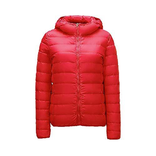 N\P Weiße Daunenjacke für Damen, mit Kapuze, kurz, leicht, Daunenmantel für den Winter Gr. XXL, rot