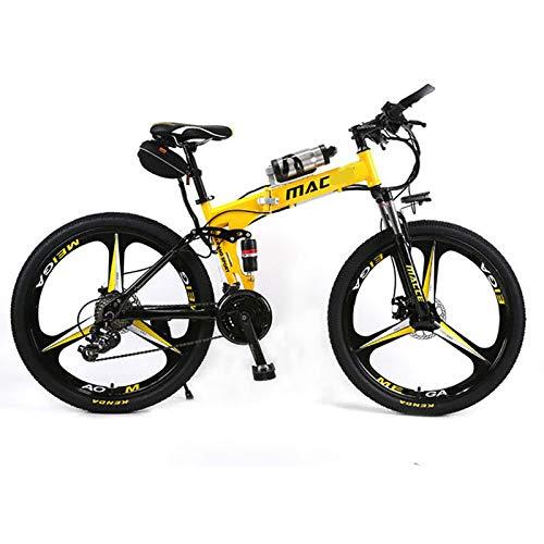 XXZ Bicicleta eléctrica de montaña, 26' 240W Batería 36V E-Bike Sistema de Transmisión de 21 Velocidades con Linterna con Batería de Litio Desmontable,Amarillo