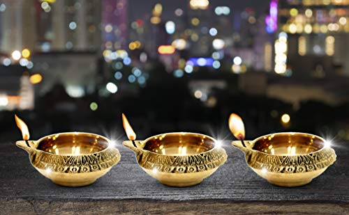 Shubhkart Traditionelle Kupfer-Öllampe, Messing, tief, Diya, indische Öllampe, 3 Stück