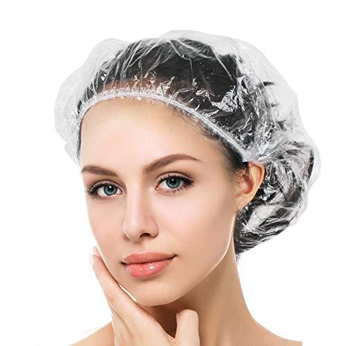 [100 Stück] Einweg Duschhaube, SlickMart Kunststoff Wasserdichte Klar Duschkappe, Haarschutz Haarhaube für Salon, Spa, Reise, Hotel, Dusche, Braids Durchsichtig -...