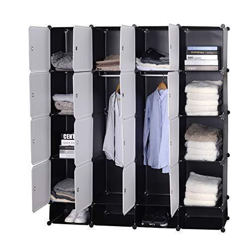 WOLTU SR0090sw Armoire Plastique Chambre Faite de modules avec 2 Tringle à vêtements pour Le Stockage de vêtements, Accessoires, Jouets, Livres,Chaussures,14 Cubes Blanc Noir