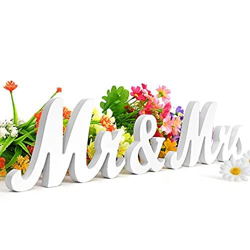 JTOOYS Letras de madera de Mr & Mrs, color blanco, decoración de...