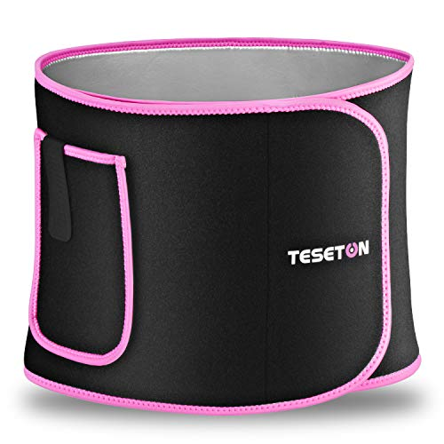 TESETON Waist Trimmer for Women, Gym Waist Trainer Sweat Band,Weight Loss Sweat Belt with Phone Pocket,Nano Silver Coating-M