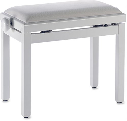 Save %25 Now! Stagg PB39 WHP VWH Piano Bench with High Gloss White Finish and White Velvet Seat