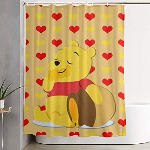 DHGER Duschvorhang Winnie The Pooh Love Honey Shower Curtain Decor for Men Women Boys Girls 60x72 in