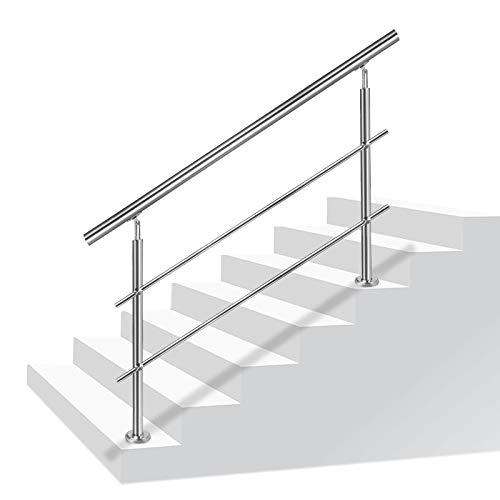 LZQ 160cm Barandilla de acero inoxidable, pared pasamanos escaleras barandilla con 2 travesaños para escaleras, balcones