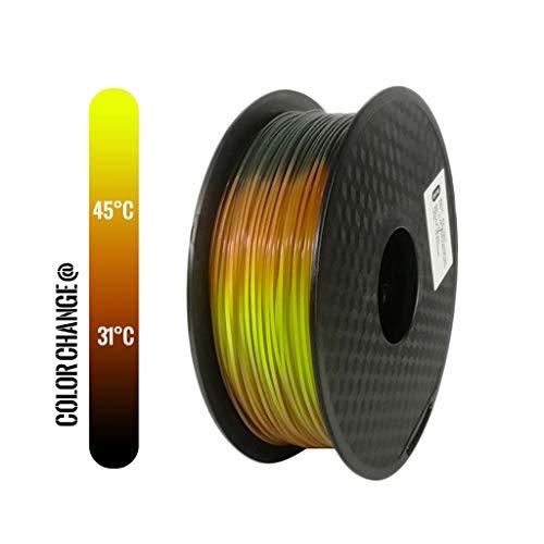Stampante 3D PLA filamento Cambia Colore Lava Stampante 3D Filament, Nero al Rosso al Giallo, 1KG 1,75 Millimetri con tolleranza +/- 0,05 Millimetri PLA Filament