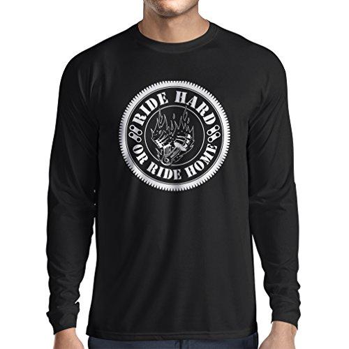 N4688L T-Shirt Manica Lunga da Uomo Ride Hard! Biker Clothing (XXX-Large Nero Multicolore)