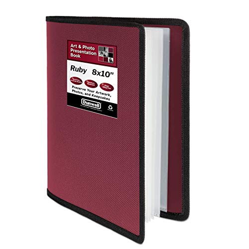 """Dunwell 8x10 Photo Album Binder - (Ruby, 1 Pack), 24 Pocket Bound Presentation Book, Displays 48 Photos, Presentation Binder with Poly Sheet Protectors for 8 x 10"""" Photography or Artwork"""