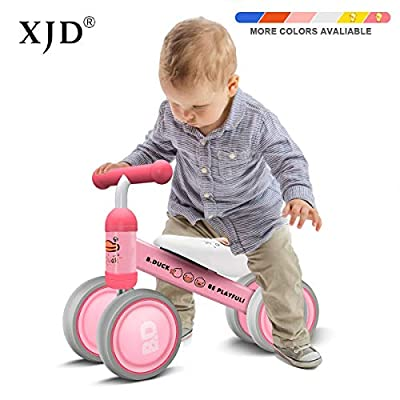 XJD Baby Balance Bikes Bicycle Baby Toys for 1 Year Old Boy Girl 10 Month -24 Months Toddler Bike Infant No Pedal 4 Wheels First Bike or Birthday Gift Children Walker, Pink Duck
